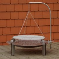 Maar Stainless Steel Firepit with Barbecue Grill
