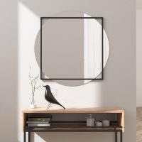 Large Round Wall Mirror in Square Frame